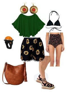 """""""Late summer Latte / pool / family"""" by katylblack ❤ liked on Polyvore featuring Reef, Unique Vintage, Urbiana and Gabriella Rocha"""