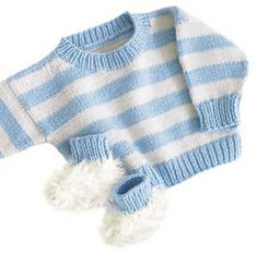 Sweet Stripes Sweater Set.  Basically this is flat out knitting.  You would need to carry the yarn for the stripes, pick up stitches for the neck, and sew on the sleeves.  Love the look of the stripes!