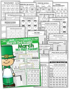 Teach multiplication, two and three-digit addition and subtraction, sight words, grammar, writing and so much more with the March NO PREP Packet for Third Grade!