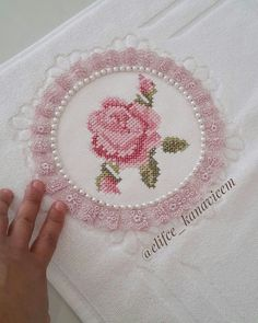 This Pin was discovered by İfa Ribbon Embroidery, Cross Stitch Embroidery, Cross Stitch Patterns, Cross Stitch Rose, Gift Packaging, Crochet, Needlepoint, Free Pattern, My Design