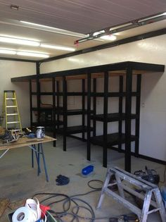 Garage Shelves With A Mezzanine