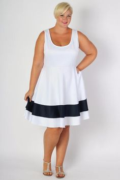 Plus Size Clothing for Women - Classic Stripe Skater Dress - White - Society+ - Society Plus - Buy Online Now! - 2