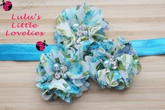 Blue floral 3 Flowers with Pearl & Rhinestone Headband on your choice Headband Newborn - Adult Photoshoot Spring Summer Wedding Flower Girl (6.50 USD) by CLulusLittleLovelies