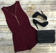 Zip Me Up Romper: Burgundy