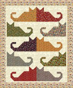 """Cat Friends quilt kit.  """"Mon Ami"""" fabrics by Moda.    59""""x71"""" finished size. Kit contains pattern by Judit Hajdu, all fabrics for top, border, and binding. 6 yards total."""