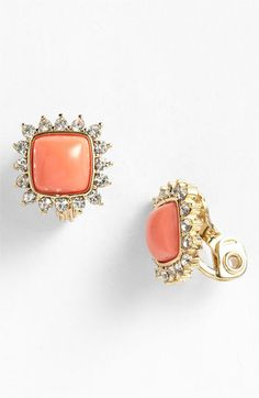 Anne Klein 'Socialite' Square Button Clip Earrings available at #Nordstrom