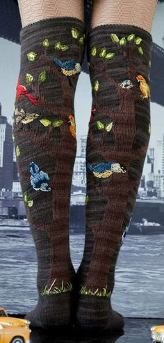 bird and tree stitched socks. My favorite is the tufts of grass at the back of the heels.