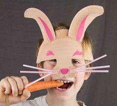 Easter Bunny Paper Plate Mask   AllFreeKidsCrafts.com