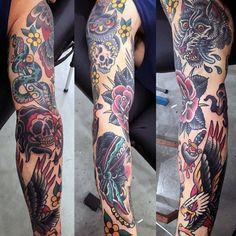 Mens Full Sleeve Serpent And Skull Tattoo