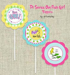 Dr Seuss Baby Girl Shower Circle Cupcake TOPPERS by girlsatplay, $8.00