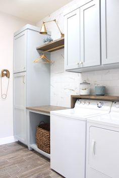 DIY Laundry Room Renovation – Frills & Drills – Haus Dekoration - Top Of The World Mudroom Laundry Room, Laundry Room Layouts, Laundry Room Remodel, Farmhouse Laundry Room, Laundry Room Design, Laundry Room With Storage, Laundry Decor, Small Laundry, Laundry Room With Cabinets
