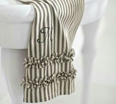Ruffled Ticking Stripe Guest Towels With Optional Monogramming Set Of Red Can Do In And Black To Match Color Scheme