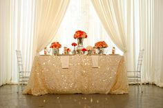 sequin tablecloth for sweetheart table Wedding Blog, Wedding Events, Wedding Planner, Dream Wedding, Wedding Day, Weddings, Wedding Tables, Bridal Table, Perfect Wedding