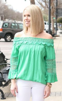 Fiesta- Green $58.00 FREE SHIPPING! This Fiesta top was made for any party! Wear on or off the shoulder and dress up or down for anything you need. Women's Fashion, New Arrivals, Party top, off the shoulder top, crochet, Spring 2015