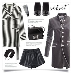 """""""Crushing on Velvet"""" by marina-volaric ❤ liked on Polyvore featuring By Malene Birger, Balenciaga, Hermès, MAKE UP FOR EVER, Jennifer Behr and velvet"""
