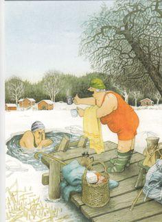 New single postcard by Inge Löök, old ladies, winter swimming   eBay