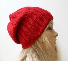 Wool Alpaca Slouchy Beanie Knit Hat, Red Hand Knitted Women Slouch Beanie, Choose Colour,  ClickClackKnits by Clickclackknits on Etsy