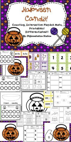 This set of fall / Halloween / candy themed centers, games and printables is designed to help students master counting and number identification. It is appropriate for preschool, kindergarten, homeschool, and special education instruction. The games and centers are designed for hands-on, concrete learning.