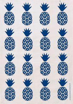 E Pineapple Tea Towel (Royal Blue on White) - hardtofind.