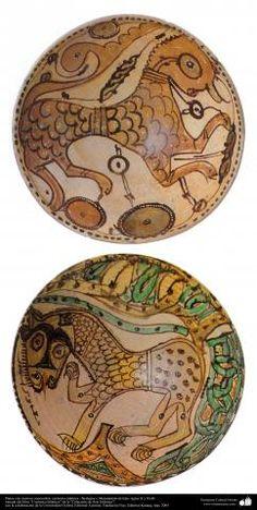 Platos con motivos zoomorfos- cerámica islámica –Nishapur o Mazandaran de Irán- siglos X y XI dC. | Galería de Arte Islámico y Fotografía