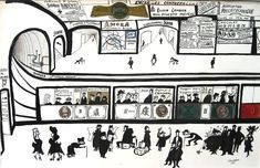 Saul Steinberg - Metro, 1951- pen and ink, gouache and collage on paper