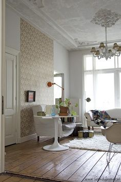 Neutral wall paper as your focal point.