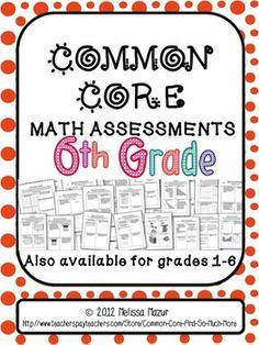 6th grade common core math assessments