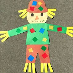 fall crafts for kids preschool giant scarecrow craft project for preschool and kindergarten Preschool Projects, Kindergarten Crafts, Daycare Crafts, Classroom Crafts, Preschool Art, Toddler Crafts, Preschool Fall Theme, Cat Crafts, Scarecrow Crafts