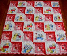 Baby Quilt Red Log Cabin Vintage Style by ForgetMeNotQuilteds, $50.00