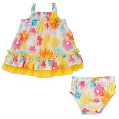"""Koala Baby Girls' 2 Piece Smocked Sleeveless Tulle Trimmed Sundress and Diaper Cover Set - Babies R Us  - Babies""""R""""Us"""