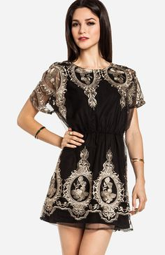 Metallic Embroidered Fit and Flare Dress