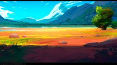 Warm landscape painting, Sergey Savvin on ArtStation at…