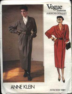 Vogue Sewing Pattern No 1461 Anne Klein American Designer Size 14 Uncut Vogue Sewing Patterns, Vintage Sewing Patterns, Mode Vintage, Vintage Vogue, Retro Fashion, Vintage Fashion, Mode Mantel, Miss Dress, Coat Dress