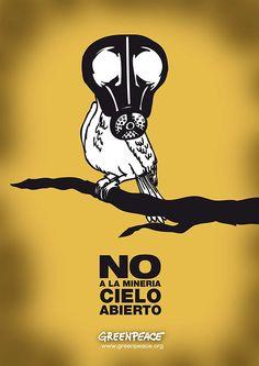 Afiche de greenpeace Pieza de gran impacto visual y pregnancia. Mediante la ilustración a través de la personificación de un pájaro máscara da un mensaje en contra de la contaminación.