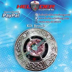 CIRCULAR CHROME SCOTTISH PINK STONE KILT FLY PLAID BROOCH  Artical No: HC-5027  Antique Brass Buckle Utility Kilt Sporran Scottish Kilt Pin