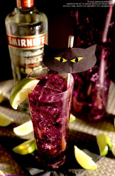 Whip up a batch of good luck! This delicious purrr-ple punch will put you and your friends in such good spirits, you'll forget all about Friday the 13th. Just don't open any umbrellas inside. Even tiny ones.  INGREDIENTS: 1 oz Smirnoff 21 vodka, 1 oz blue curacao, 3 oz lemon lime soda, 1 oz cranberry juice, Lime twist for garnish