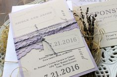 Purple Charmer - Purple Wedding Invitations, Ivory, Lilac, Lace - Purchase to Start the Ordering Process