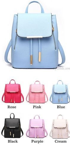 Which color do you like? Elegant Pink Funky Lady Solid Simple Square PU Drawstring Hasp Satchel Backpack