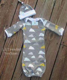 Newborn baby gown//Gender neutral by LilTrendiesBoutique on Etsy