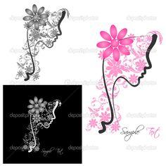 Perfil perfecto de una mujer con flores - Ilustración de stock: 23053106