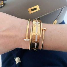 Cartier Bracelet, Bangle Bracelets, Bangles, Stacking Bracelets, Edgy Nails, Love Band, Fine Jewelry, Unique Jewelry, Bracelet Designs