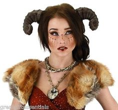 SATYR HORNS Costume Headpiece Ram Goat Sheep Pan Faun Greek Mythical Animal Horn