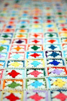 Cute! Mini granny squares crochet blanket in brights and cream