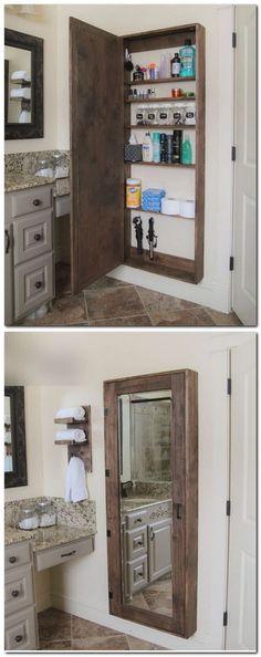Diy Bathroom Storage Cabinet Bedrooms New Ideas Bathroom Organization, Bathroom Storage, Bathroom Medicine Cabinet, Bathroom Shelves, Medicine Cabinets, Organization Ideas, Bathroom Cabinets, Storage Mirror, Kitchen Cabinets