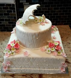 A custom cake we created for a Shower! Isn't it lovely?