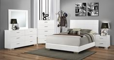 Fall in love with the Felicity Contemporary Glossy White Queen Bed by Coaster Furniture Company at NashCo Furniture and Mattress, a family owned business proudly serving Nashville, TN and surrounding areas! Master Bedroom Set, White Bedroom Set, 5 Piece Bedroom Set, Queen Bedroom, Bedroom Sets, Bedrooms, Modern Bedroom, Modern Beds, Queen Bedding Sets