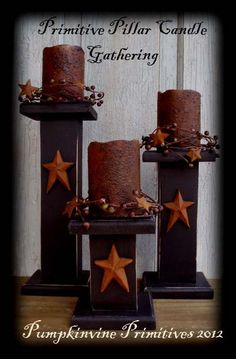 Primitive Black Candlestick Trio Pillar by PumpkinvinePrimitive, $25.00