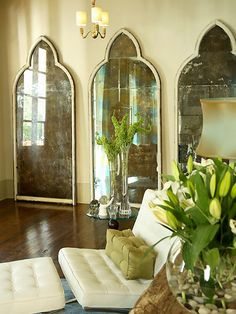 Beautifully shaped mirrors.