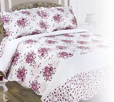 Chiara Rose Double Sided Reversible Microfiber Bedspread 3-Piece (2xSham 1xQuilt) Quilt Set King, Fuchsia