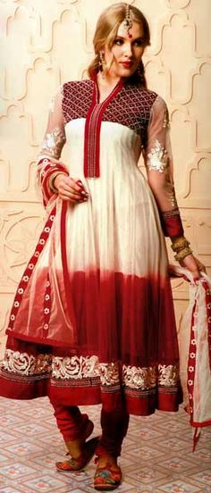 Light Yellow and Red Net Flare #SalwarSuit @ $107.51 | Shop Here: http://www.utsavfashion.com/store/sarees-large.aspx?icode=kgb1138